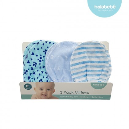 Holabebe 3 in 1 Anti Scratch Baby Mitten - Random Design