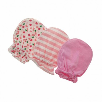 Holabebe 3 in 1 Anti Scratch Baby Girl Mitten [Random Design]