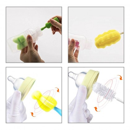 6 in 1 Baby Bottle Sponge Brush Milk Cup Teats Nipple Brush Multifunctional Cleaning Tool Berus Bottle Susu Baby