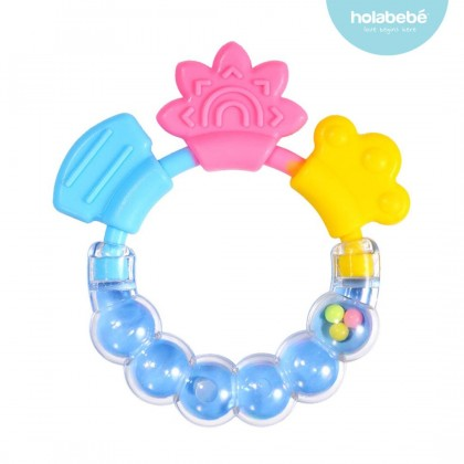 Baby Rattle Teether Silicone Handbell Early Educational Toys (1 Pcs)